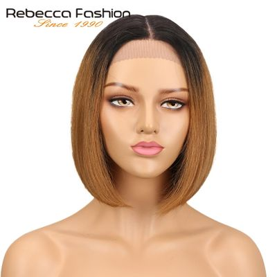 Rebecca Short Bob Ombre Hair Wigs For Women Middle Part Brazilian Straight Remy Hair Lace Front Human Hair Wig 4 Colors Choice