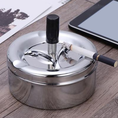 Smoking Accessories Stainless Steel Ashtrey Round Push Down Ashtray with Rotating Tray YU-Home