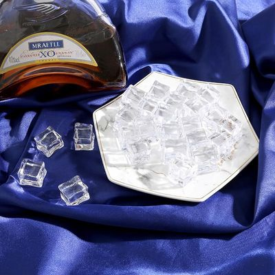 5PCS Fake Ice Cubes Reusable Artificial Acrylic Crystal Cubes Whisky Drinks Display Photography Props Club Party Decor