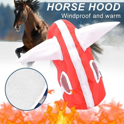 New Novelty Winter Horse Hood Head Cover Plush Lined Headwear for Foal Horse Warm Clothing XD88