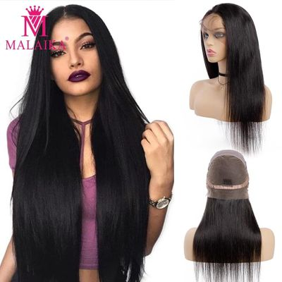 MALAIKA Lace Human Hair Wigs Straight Pre Plucked Hairline Baby Hair 12-26 Inch 130% Malaysian Human Hair full Lace Wigs