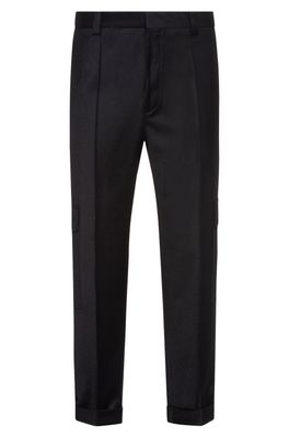 HUGO BOSS - Tapered Fit Pants In Stretch Wool With Turnups