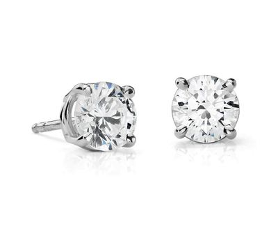 Suzy Levian 14K White Gold Classic Four-Prong 1/4cttw Diamond Stud Earrings