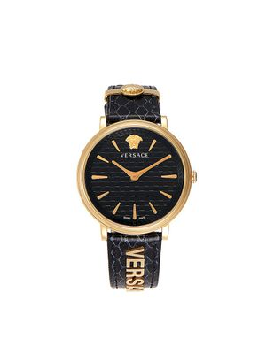 Versace Goldtone Stainless Steel & Leather-Strap Watch