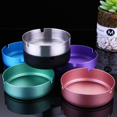 Stainless Steel Ashtray Colorful Portable High Temperature Resistant Drop Resistant Ashtray Round Design Ashtray cenicero coche