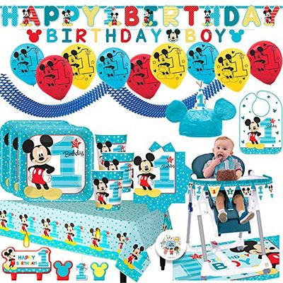 Mickey Mouse Fun To Be one Mega First Birthday Party Supplies Pack for 16 Guests with Plates, Cups, Napkin, Tablecover, Balloons, Birthday Banners, High Chair Kit, Bib, Mickey Hat