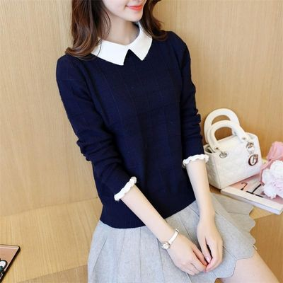 Autumn and Winter 2019 New Fake Two-piece Knitted Blouse, Lady's Sweater, Loose Bottom Doll Neck, Spring Suit