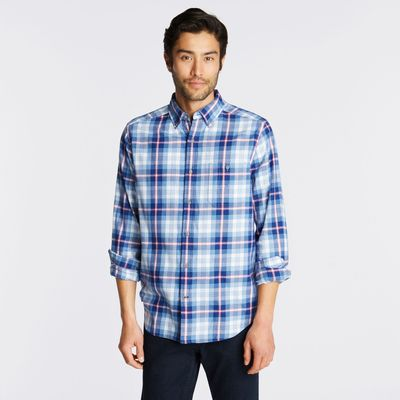 Nautica Classic Fit Brushed Twill Shirt In Blue Plaid