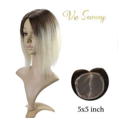 VeSunny Hair Piece Mono Topper 100% Real Human Hair Crown Toupee with 4 Clips 5x5 inches Ombre Color Brown to Blonde #3/60