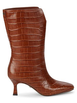 Sam Edelman Lolita Mid-Calf Croc-Embossed Leather Boots