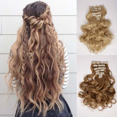 AOOSOO 16 clips Long wave Synthetic Hair Extensions Clips in High Temperature Fiber Black brown Blonde Hairpieces