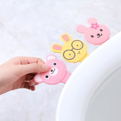 Cartoon Cover Lifter Toilet Seat Handle Bathroom Lid Cover Toilet Bowl Seat Lift Handle Bathroom Toilet Seat Holder Accessories