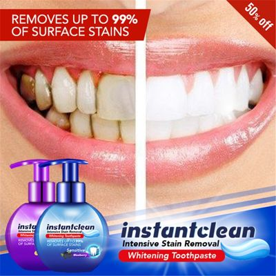 Instant Clean Intensive Stain Removal Whitening Toothpaste Viaty Baking Soda Blueberry Flavor Toothpaste Prevent Tooth Decay