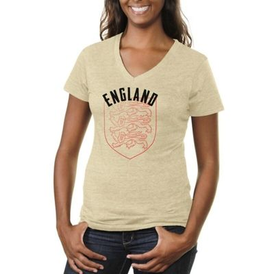 England Women's Coat Of Arms Tri-Blend V-Neck T-Shirt - White