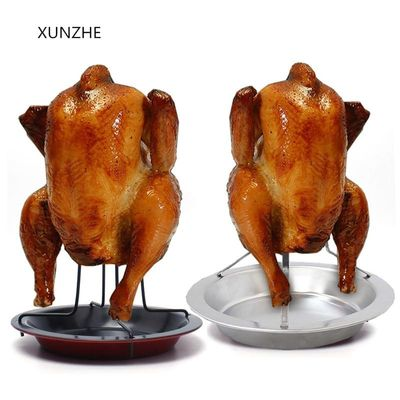 XUNZHE Outdoor Camping Portable Stainless Steel Grill Chicken Holder Duck Rack For Grilling Baking Barbecue Ribs Non-stick For