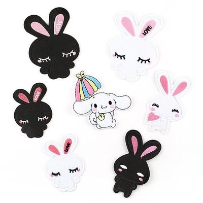 5pcs/lot Embroidered Cloth Stickers Cartoon Rabbit Animal Patch Stickers Children's Clothing Accessories Clothes Repair Stickers