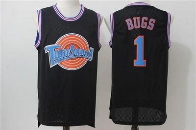 Classic Complex Space Jam Film Version Bugs1 No. Embroidered Jersey Basketball Wear White And Black