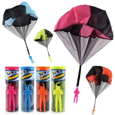 Finebaby 4PCS Set Tangle Free Parachute Figures Hand Throw Soliders Square Outdoor Children Flying Toys