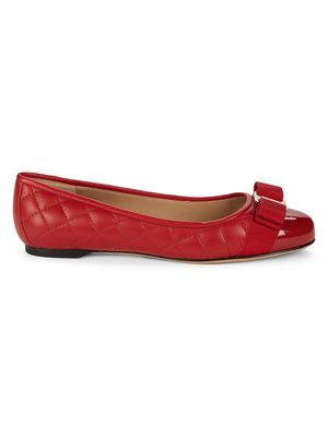 Salvatore Ferragamo Quilted Leather & Patent Bow Ballet Flats