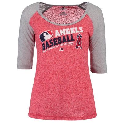 Los Angeles Angels Majestic Women's Authentic Collection Team Choice Raglan T-Shirt - Red