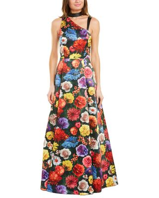alice + olivia Chrissy Leather-Trim Gown