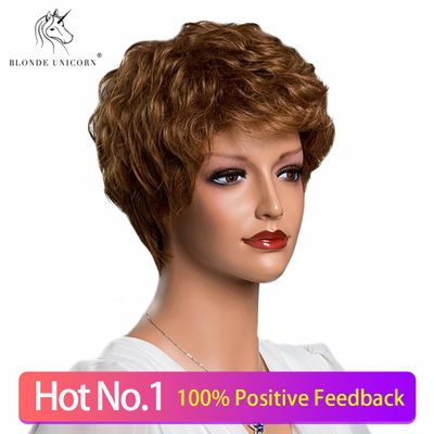 BLONDE UNICORN Synthetic Fringe Wig 8 Inch Short Hair  Wigs Natural Curly 50% Human Hair Wig For White Women 10 Color Available
