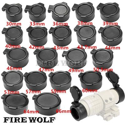 FIRE WOLF Rifle Scope Cover Quick Flip Spring Up Open Lens Cover Cap Eye Protect Objective Cap For Caliber 20 Sizes