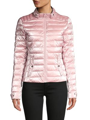 Blanc Noir Super Hero Metallic Moto Puffer Jacket