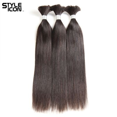 Styleicon Hair Brazilian Straight Human Hair Bulk 1 3 4 Bundles Deals Remy Bulk Human Hair For Braiding No Wefts Natural Color