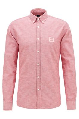 HUGO BOSS - Oxford Cotton Slim Fit Shirt With Jacquard Logo Patch