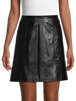 Pure Navy Croc-Embossed Faux Leather Skirt