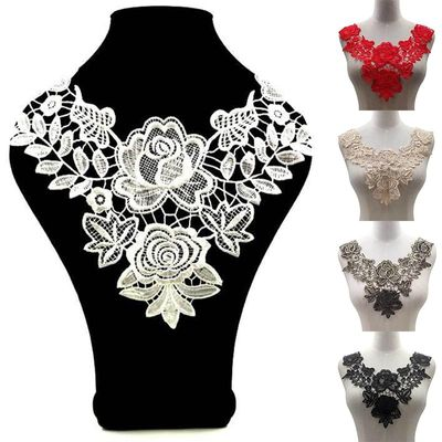 Floral Lace Collar Fabic Embroidered Applique Patch DIY Neckline Lace Fabric Sewing On Supplies Scrapbooking Fake collar Patches