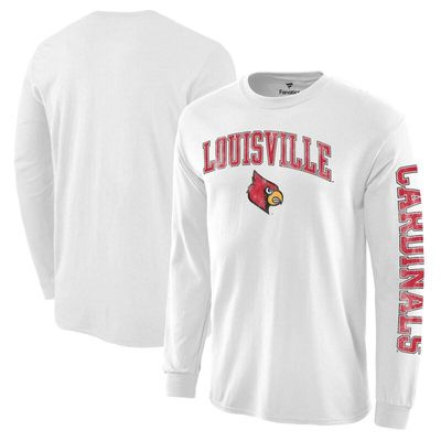 Louisville Cardinals Distressed Arch Over Logo Long Sleeve Hit T-Shirt - White