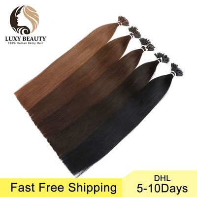 Luxy Beauty 18 inch 1g/pc 8 Colors Nano Hair Extensions Machine Made Remy Micro Ring Nano Bead Hair Micro Link Hair Extensions