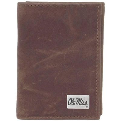 Mississippi Rebels Concho Leather Tri-Fold Wallet - Brown
