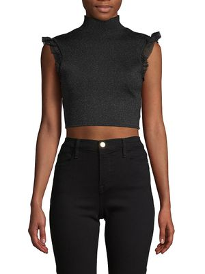 Alice + Olivia Ruffle-Trimmed Cropped Top