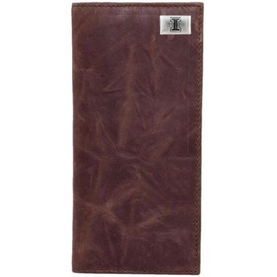 Illinois Fighting Illini Leather Secretary Wallet with Concho - Brown
