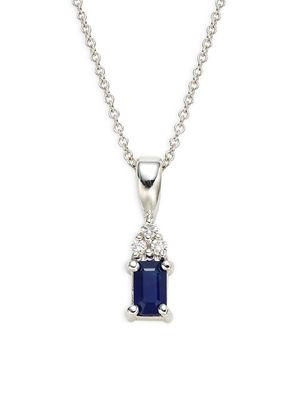 Effy 14K White Gold Sapphire Diamond Pendant Necklace