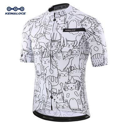 Breathable Unisex White Cartoon Cat Cycling Jersey Spring Anti-Pilling Eco-Friendly Bike Clothing Road Team Bicycle Wear Shirts
