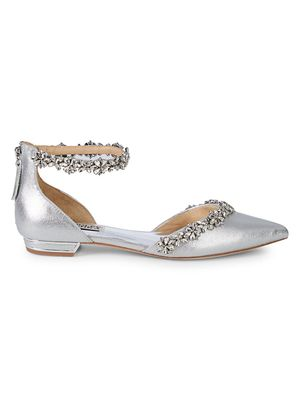 Badgley Mischka Vivien Metallic Bejeweled Flats