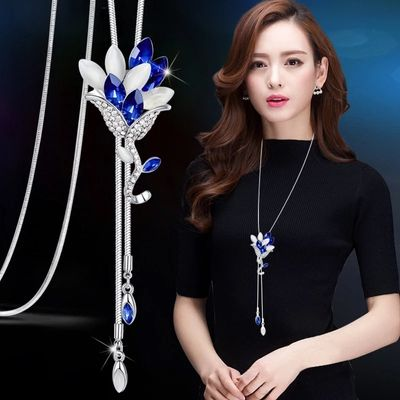 RAVIMOUR Fashion Long Chain Sweater Necklaces & Pendants for Women Blue Opal Rhinestone Flower Pendant Necklace Female Jewelry
