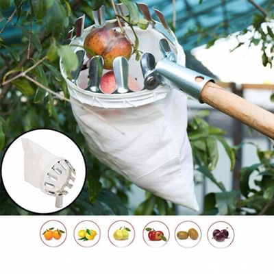 Portable Metal Fruit Horticultural Picker Fruit Collector Gardening Picking Tool Hardware Tool for Apple,Peach,Tall Tree fruits