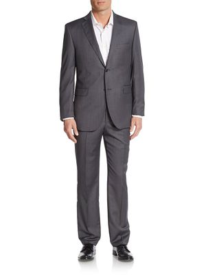 Saks Fifth Avenue Made in Italy Trim-Fit Wool Textured Suit