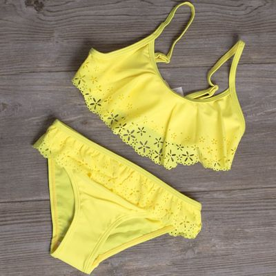 2020 Girl Swimsuit Two Pieces Children's Swimwear Swim Suits Children Split Hollow Falbala Bikini Sets Bathing Suit G1-CZ912