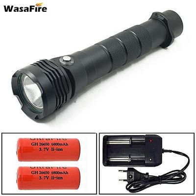 Professional Waterproof Torch XHP50 Led Flashlight Underwater Scubadiving Tactical Lantern Lamp With 26650 Battery + Charger