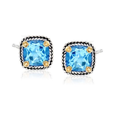 Ross-Simons Blue Topaz Stud Earrings in Sterling Silver and 14kt Yellow Gold