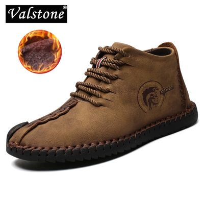 Valstone 2020 Winter Men's Leather Casual  Shoes Large Size 48 Vintage Frosty Boots High-Top Warm Sneaker Khaki Black Golden Man