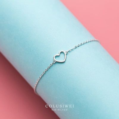 Colusiwei Genuine 925 Sterling Silver Romantic Heart Link Chain Bracelets & Bangles for Women Authentic Silver Jewelry Gift