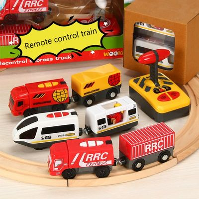 Remote Control RC Electric Train Toys Set Kid Slot Car Connected with Wooden Railway Track Present for Children