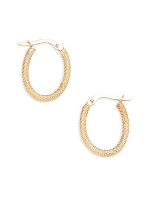 Saks Fifth Avenue Made in Italy 14K Yellow Gold Textured Hoop Earrings
